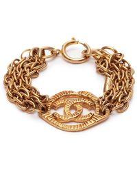Chanel | Logo Charm Multi Chain Bracelet | Lyst