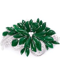 LC COLLECTION - Diamond Jade 18k White Gold Brooch - Lyst