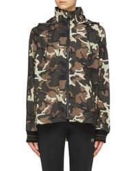 The Upside 'camo Ash' Print Striped Sleeve Hooded Track Jacket - Multicolor