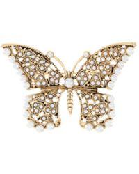 Kenneth Jay Lane Butterfly Antique Brooch - Metallic