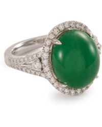 LC COLLECTION Diamond Jade 18k White Gold Ring - Green