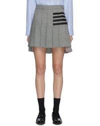 Thom Browne Four Bar Pleat Check Mini Skirt - Grey