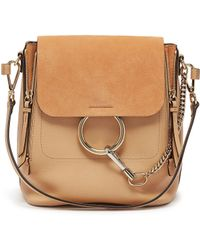 Chloé - 'faye' Small Suede Flap Leather Backpack - Lyst