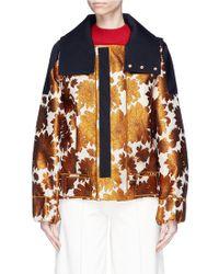 Ms Min - Hooded Stripe Floral Jacquard Jacket - Lyst