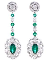 LC COLLECTION - Diamond Emerald Platinum And Silver Drop Earrings - Lyst