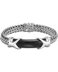 John Hardy Sterling Silver Classic Chain Black Onyx Bar Chain Link Bracelet - Metallic