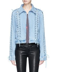 Madegold - 'ming' Lace-up Cropped Denim Jacket - Lyst