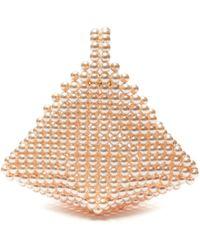 Vanina Le Bourgeon Diamond Shape Acrylic Bead Top Handle Bag - Pink
