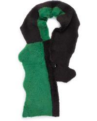 Karl Donoghue Colourblock Patchwork Lambskin Shearling Scarf - Green