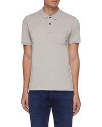 Denham 'regal' Chest Pocket Pique Cotton Polo Shirt - Grey