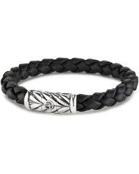 David Yurman Sterling Silver Leather Chevron Bracelet - Multicolour