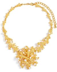 Kenneth Jay Lane Glass Crystal Glass Pearl Branch Necklace