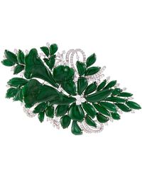 LC COLLECTION Diamond Jade 18k White Gold Floral Brooch - Metallic