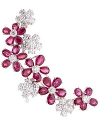 LC COLLECTION Diamond Ruby 18k White Gold Floral Brooch - Metallic