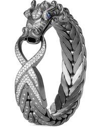 John Hardy - 'legends Naga' Diamond Sapphire Silver Medium Bangle - Lyst