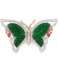LC COLLECTION - Diamond Jade 18k Gold Butterfly Brooch - Lyst
