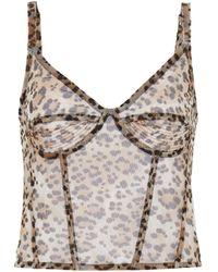 R13 Leopard Print Sleeveless Corset Cami Top - Brown