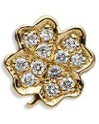Loquet London 18k Yellow Gold Diamond Four Leaf Clover Charm - Luck - Metallic