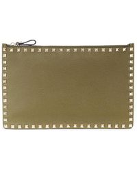 Valentino - 'free Rockstud' Large Flat Leather Pouch - Lyst