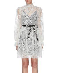 Zimmermann 'super Eight' Butterfly Lace Mini Dress - Multicolour