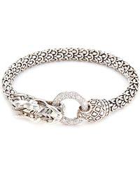 John Hardy Diamond Silver Scaly Dragon Bracelet - Metallic