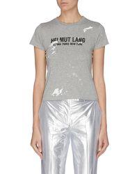 Helmut Lang 'baby' Logo Print Paint Splatter T-shirt - Grey