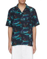 You As Hawaii Storm Print Shirt - Blue