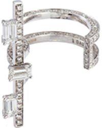 Dauphin 'disruptive' Emerald Cut Diamond 18k White Gold Bar Open Ring - Metallic