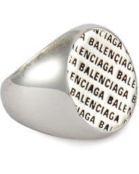 Balenciaga 'precious' Logo Engraved Metal Ring - Metallic