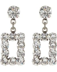 Philippe Audibert Swarovski Crystal Cutout Rectangle Drop Earrings - Metallic