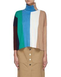 Victoria, Victoria Beckham Block Stripe Turtleneck Knit Sweater - Multicolor
