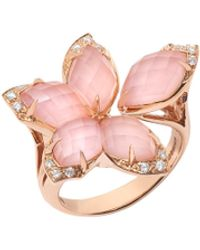 Stephen Webster Love Me, Love Me Not' Diamond Pink Opal 18k Rose Gold Ring