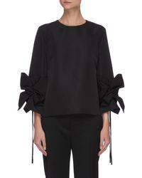 Victoria, Victoria Beckham Gather Bow Sleeve Blouse - Black