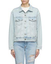 GRLFRND Kim Distressed Denim Jacket - Blue
