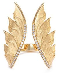 Stephen Webster - Diamond 18k Yellow Gold Feather Open Ring - Lyst