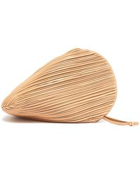 Neous Pluto' Pleated Swirl Leather Clutch - Natural