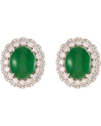 LC COLLECTION - Diamond Jade 18k White Gold Scalloped Stud Earrings - Lyst