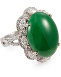 LC COLLECTION - Diamond Jade 18k White Gold Scalloped Ring - Lyst