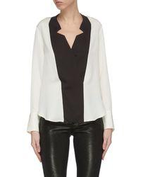 FRAME Tuxedo Notch Collar Silk Blouse - Black