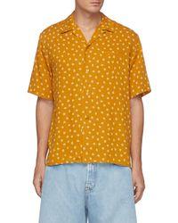 Saint Laurent Orchid Print Short Sleeve Shirt - Orange