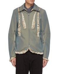 Kiko Kostadinov Stripe Panel Cutout Zip Jacket - Grey