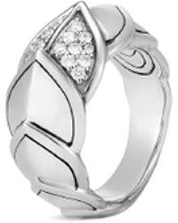 John Hardy - 'legends Naga' Diamond Silver Small Ring - Lyst