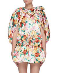 ShuShu/Tong Floral Print Bow Detail Short Bubble Dress - Multicolour