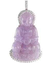 LC COLLECTION Diamond Jade 18k White Gold Buddha Pendant - Purple