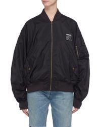 Fiorucci 'lou' Logo Print Oversized Bomber Jacket - Black