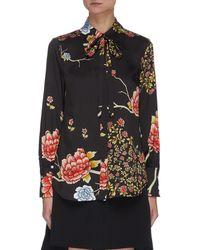 Victoria, Victoria Beckham Neck Tie Floral Shirt - Black