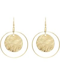 Kenneth Jay Lane - Hammered Coin Hoop Earrings - Lyst