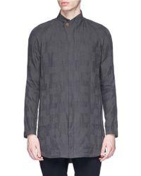 DEVOA - Mandarin Collar Check Plaid Shirt - Lyst