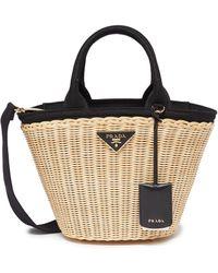 Prada - Canvas Trim Wickerbasket Bag - Lyst