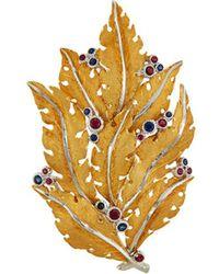 Buccellati Sapphire Ruby 18k Gold Leaf Brooch - Metallic